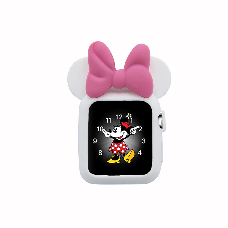 Apple Watch 38mm 42mm Cute Cartoon Mouse Ears Soft Silicone Protective Case - Minnie Mouse - White with Pink Ribbon