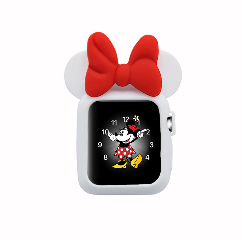 Apple Watch 38mm 42mm Cute Cartoon Mouse Ears Soft Silicone Protective Case - Minnie Mouse - White with Red Ribbon