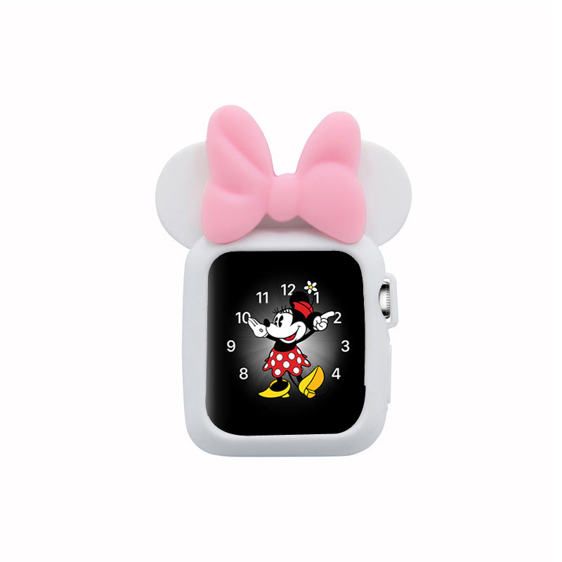 Apple Watch 38mm 42mm Cute Cartoon Mouse Ears Soft Silicone Protective Case - Minnie Mouse - White with Soft Pink Ribbon