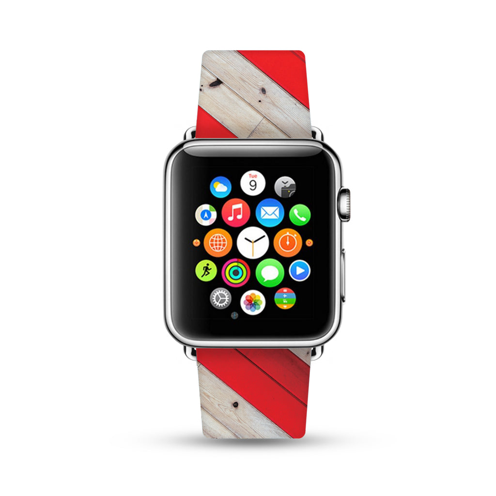 Red Wood Stripes Pattern Watch Band Strap for Apple Watch - 38 mm / 42 mm