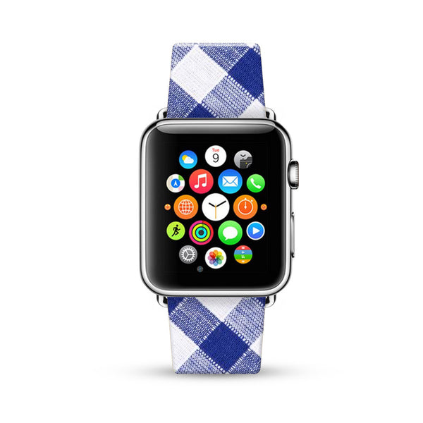 Blue Tartan Pattern Watch Band Strap for Apple Watch -  38mm / 40mm  , 42mm / 44mm