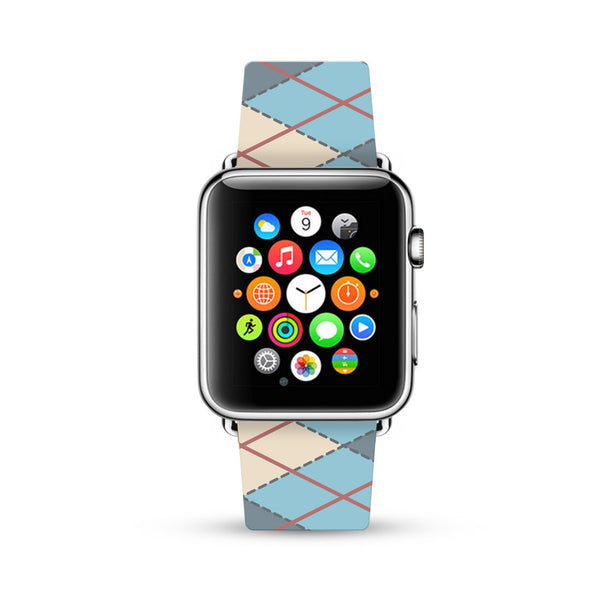 Blue Argyle Pattern Watch Band Strap for Apple Watch -  38mm / 40mm  , 42mm / 44mm