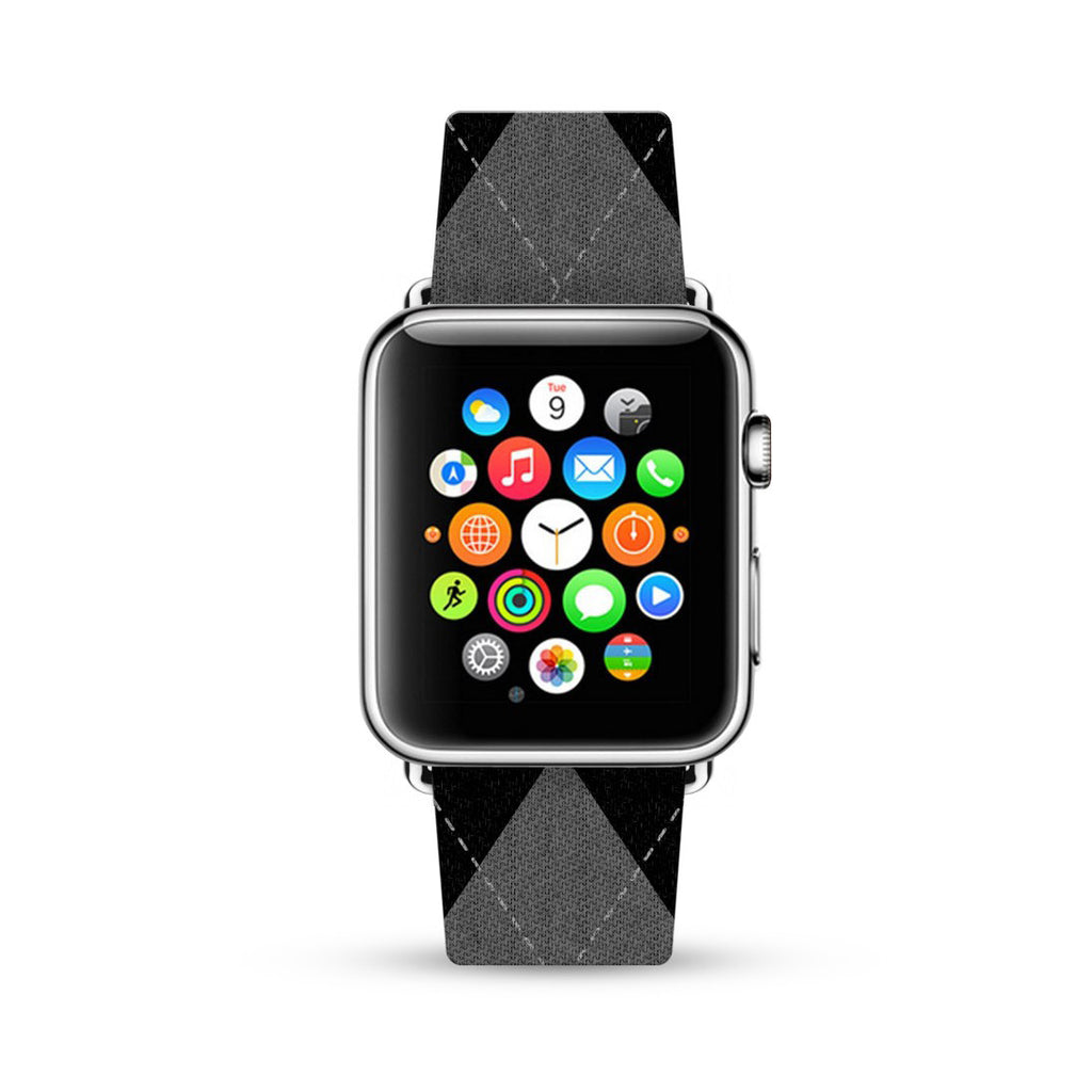 Black Argyle Pattern Watch Band Strap for Apple Watch -  38mm / 40mm  , 42mm / 44mm