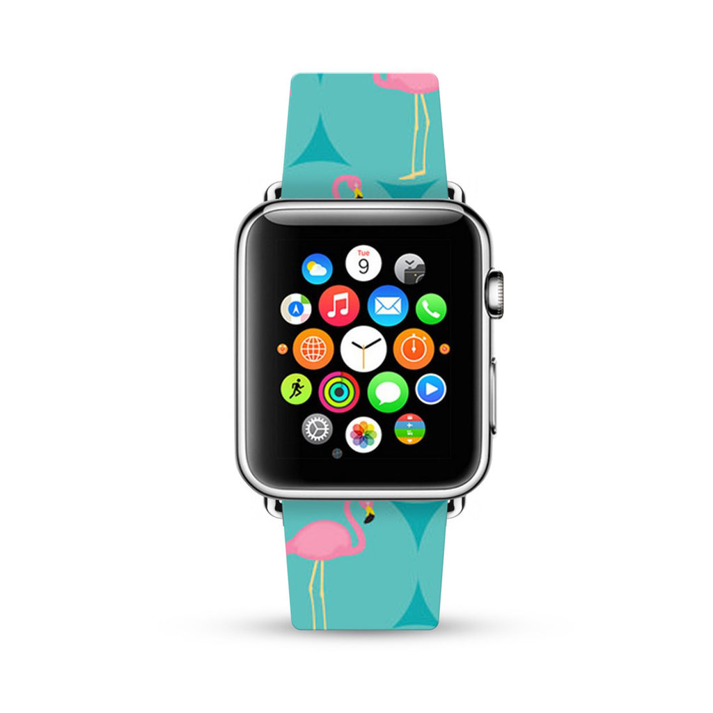 Turquoise Flamingo Pattern Watch Band Strap for Apple Watch -  38mm / 40mm  , 42mm / 44mm