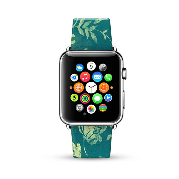 Aqua Floral Pattern Watch Band Strap for Apple Watch -  38mm / 40mm  , 42mm / 44mm