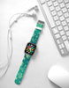 Aqua Floral Pattern Watch Band Strap for Apple Watch - 38 mm / 42 mm