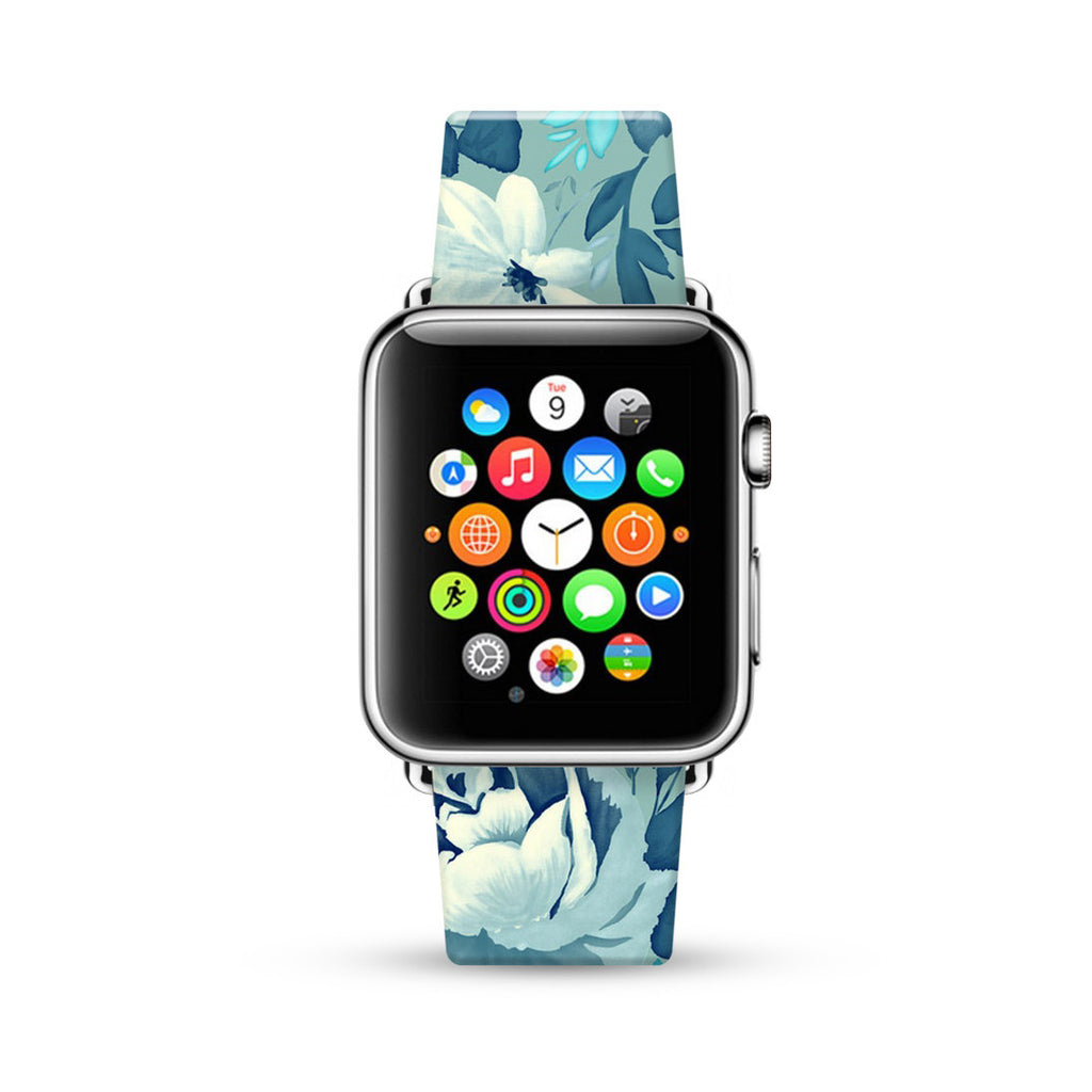 Mint Daisy Floral Pattern Watch Band Strap for Apple Watch -  38mm / 40mm  , 42mm / 44mm
