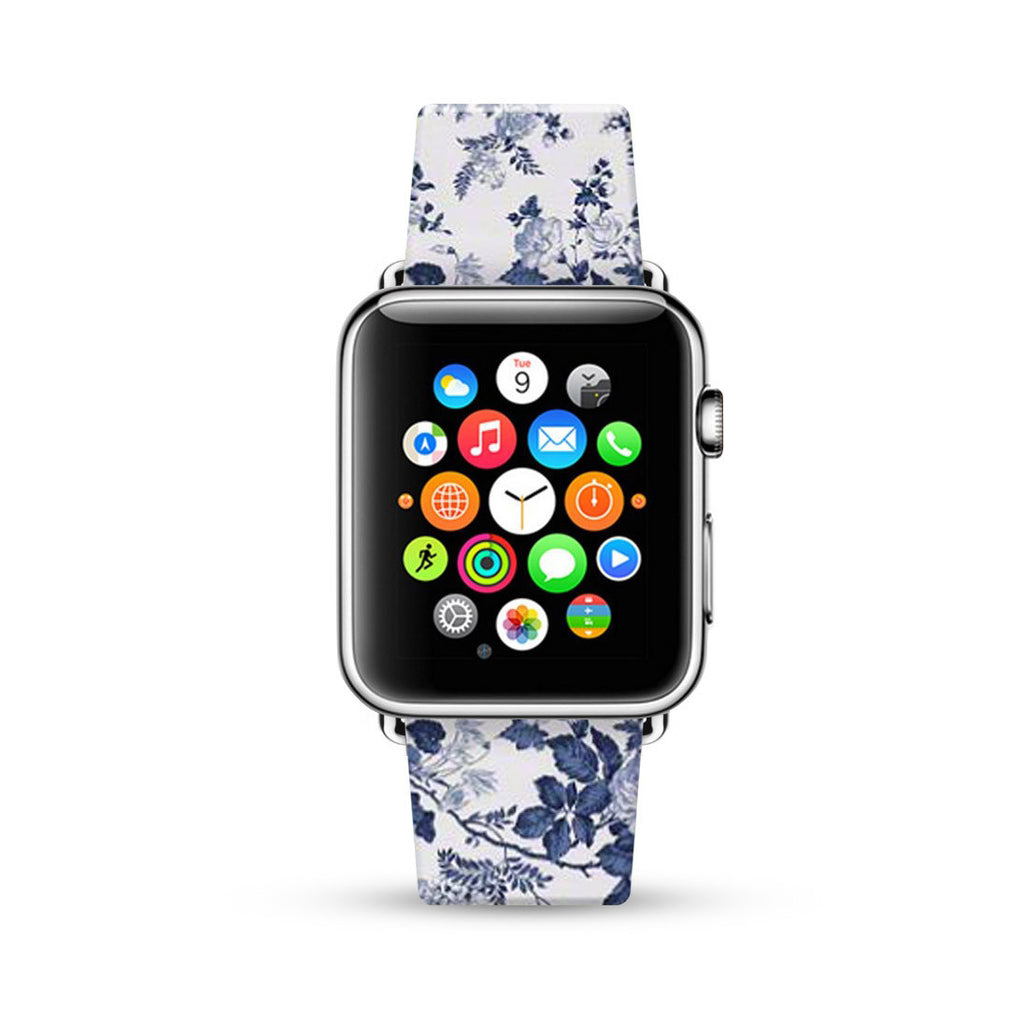 Blue Rose Floral Pattern Watch Band Strap for Apple Watch - 38 mm / 42 mm