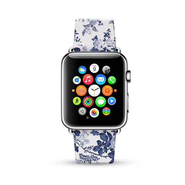Blue Rose Floral Pattern Watch Band Strap for Apple Watch -  38mm / 40mm  , 42mm / 44mm