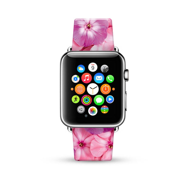 Pink Floral Pattern Watch Band Strap for Apple Watch -  38mm / 40mm  , 42mm / 44mm