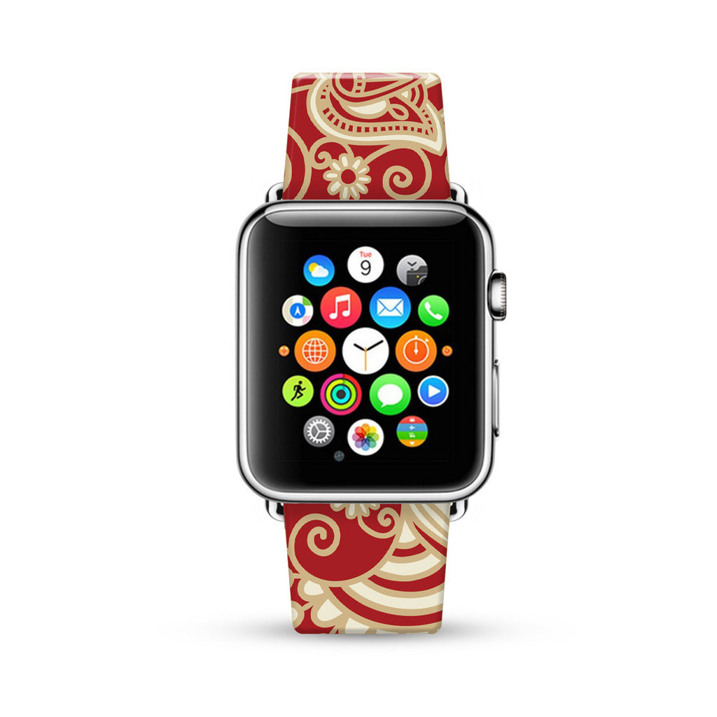 Red Golden Floral Pattern Watch Band Strap for Apple Watch -  38mm / 40mm  , 42mm / 44mm