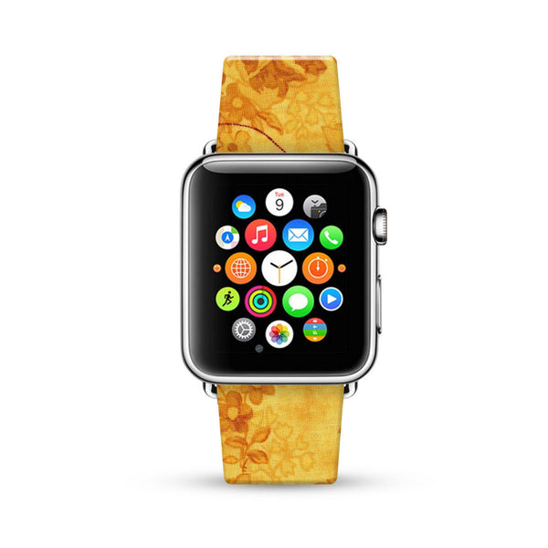 Golden Yellow Rose Floral Pattern Watch Band Strap for Apple Watch -  38mm / 40mm  , 42mm / 44mm