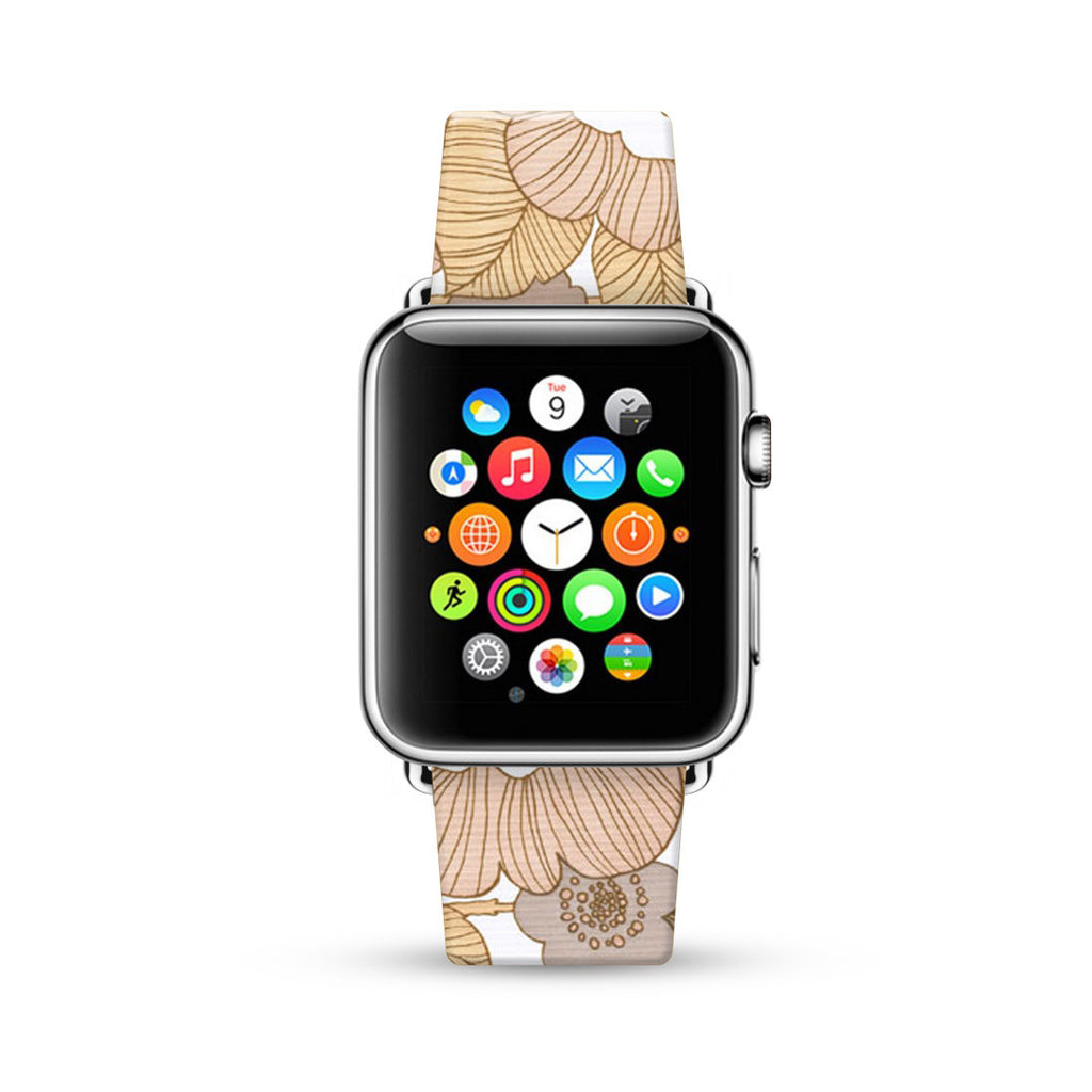Earth Tone Brown Floral Pattern Watch Band Strap for Apple Watch -  38mm / 40mm  , 42mm / 44mm
