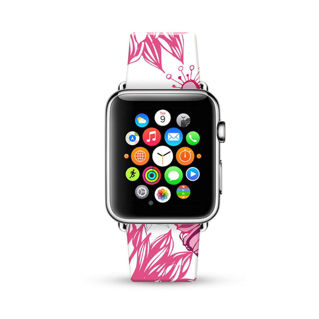 White Pink Floral Pattern Watch Band Strap for Apple Watch - 38 mm / 42 mm