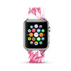 White Pink Floral Pattern Watch Band Strap for Apple Watch -  38mm / 40mm  , 42mm / 44mm