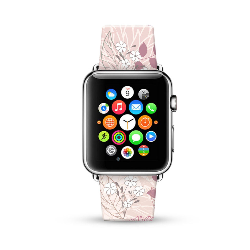 Soft Pink Floral Pattern Watch Band Strap for Apple Watch - 38 mm / 42 mm