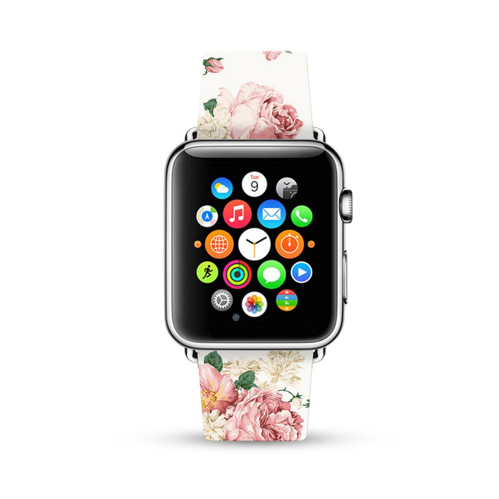 White Rose Pattern Watch Band Strap for Apple Watch - 38 mm / 42 mm