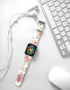 White Rose Pattern Watch Band Strap for Apple Watch -  38mm / 40mm  , 42mm / 44mm