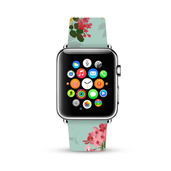 Pink Rose Mint Pattern Watch Band Strap for Apple Watch -  38mm / 40mm  , 42mm / 44mm