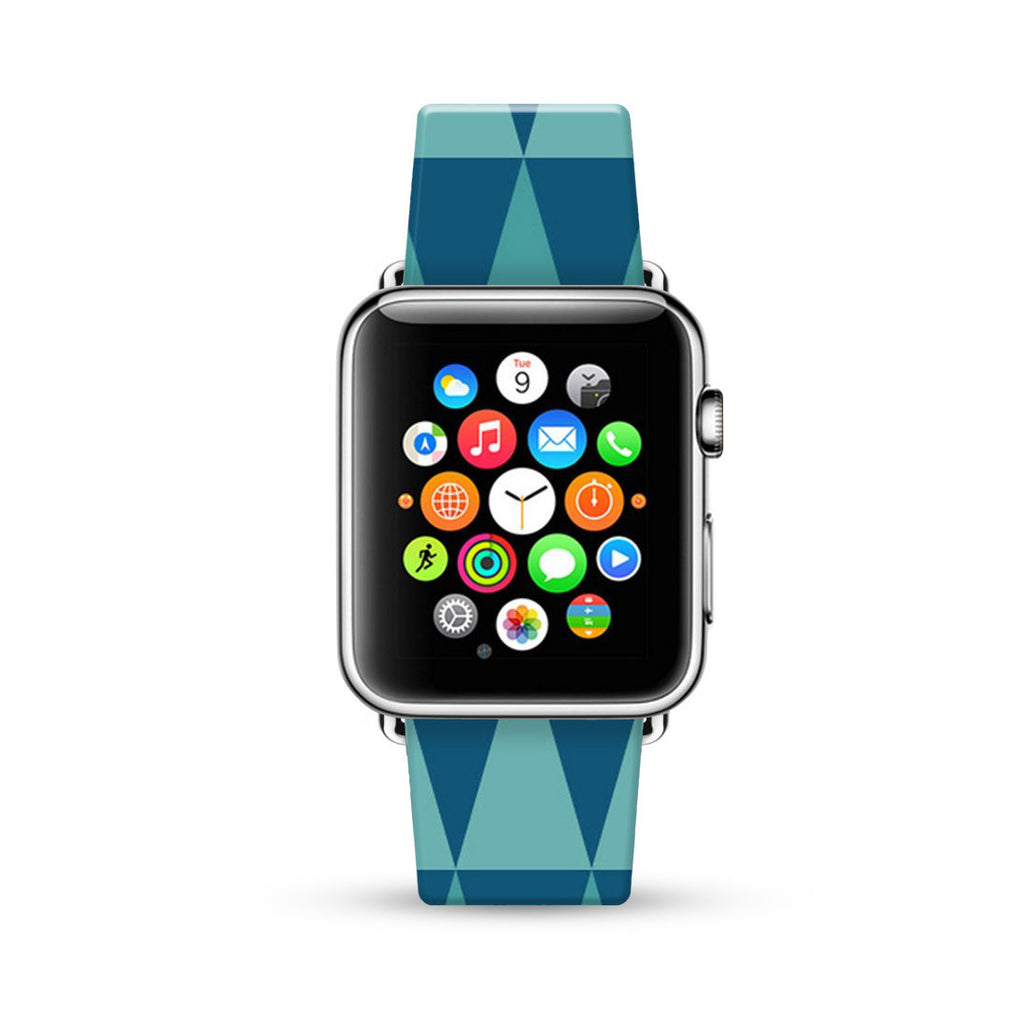 Blue Geometric Triangle Pattern Watch Band Strap for Apple Watch - 38 mm / 42 mm