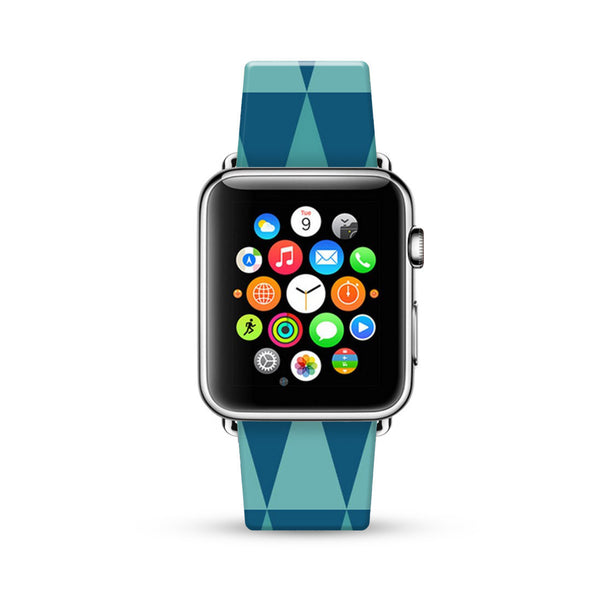 Blue Geometric Triangle Pattern Watch Band Strap for Apple Watch -  38mm / 40mm  , 42mm / 44mm