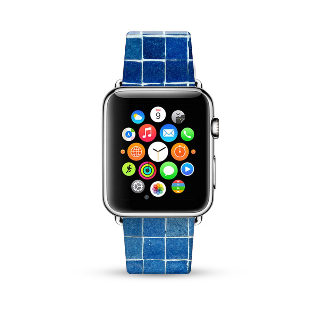 Blue Mosaic Tiles Pattern Watch Band Strap for Apple Watch - 38 mm / 42 mm