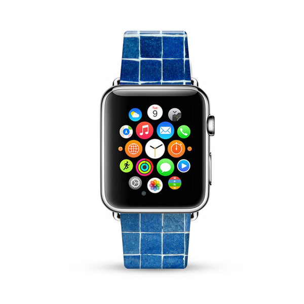 Blue Mosaic Tiles Pattern Watch Band Strap for Apple Watch -  38mm / 40mm  , 42mm / 44mm