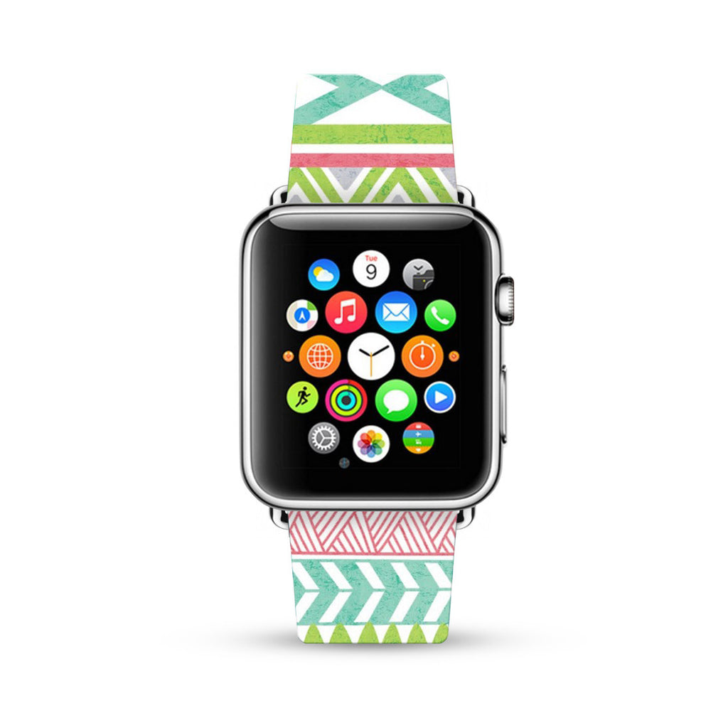 Teal Coral Navajo Tribal Pattern Watch Band Strap for Apple Watch -  38mm / 40mm  , 42mm / 44mm