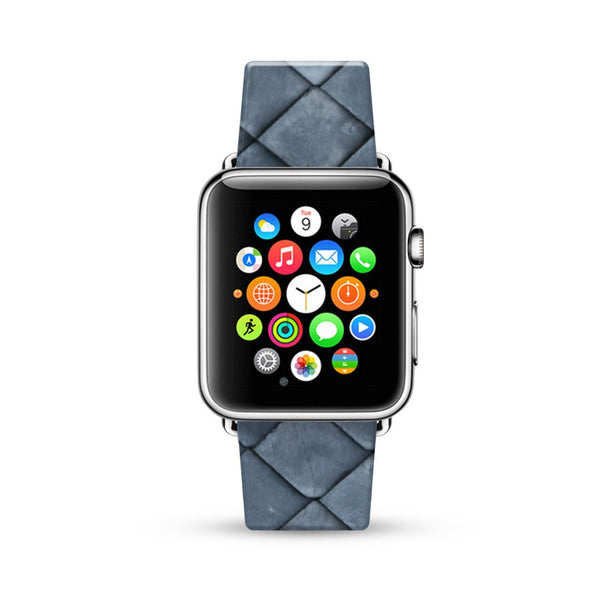 Charcoal Faux Leather Pattern Watch Band Strap for Apple Watch -  38mm / 40mm  , 42mm / 44mm