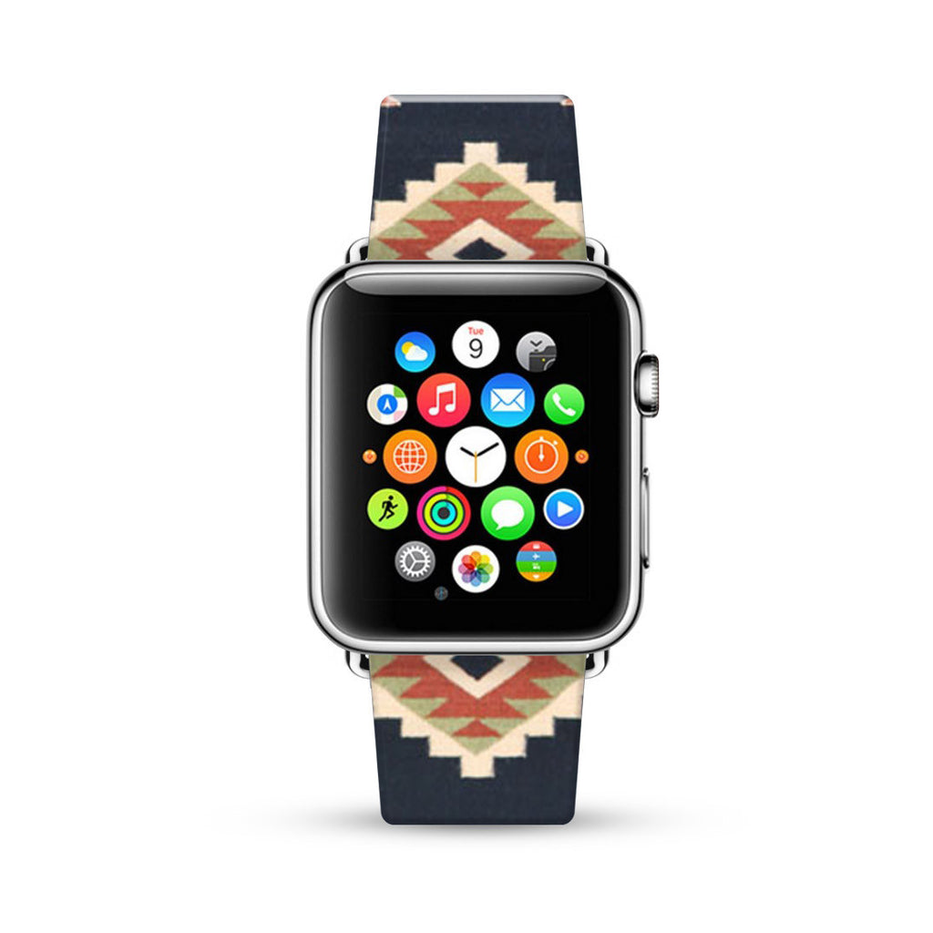 Navy Coral Navajo Tribal Pattern Watch Band Strap for Apple Watch - 38 mm / 42 mm