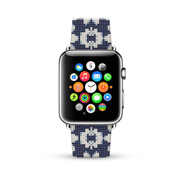Mosaic Tiles Floral Pattern Watch Band Strap for Apple Watch -  38mm / 40mm  , 42mm / 44mm