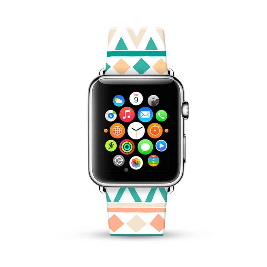 Mint Navajo Tribal Pattern Watch Band Strap for Apple Watch -  38mm / 40mm  , 42mm / 44mm