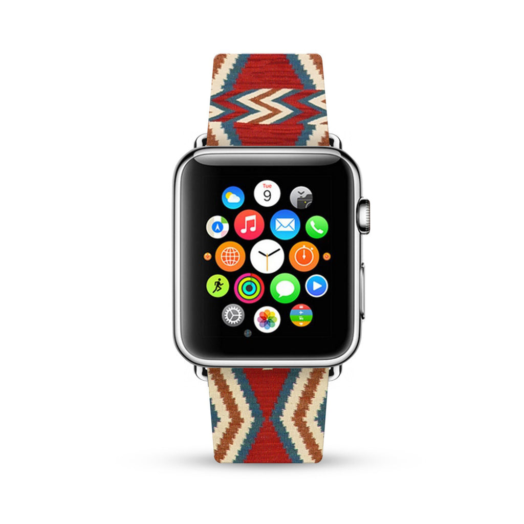 Navajo Pattern Indigo Red Tribal Pattern Watch Band Strap for Apple Watch -  38mm / 40mm  , 42mm / 44mm