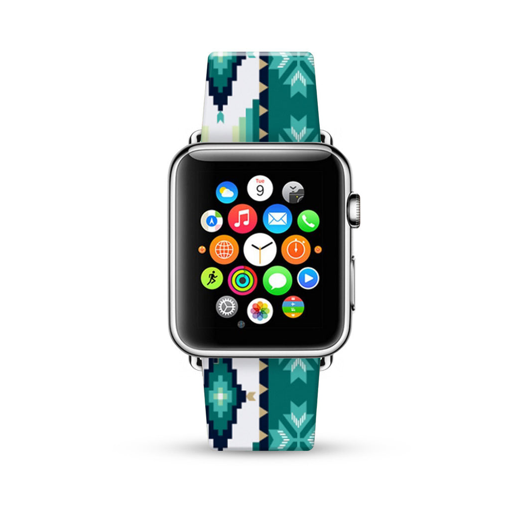 Turquoise Tribal Navajo Pattern Watch Band Strap for Apple Watch -  38mm / 40mm  , 42mm / 44mm