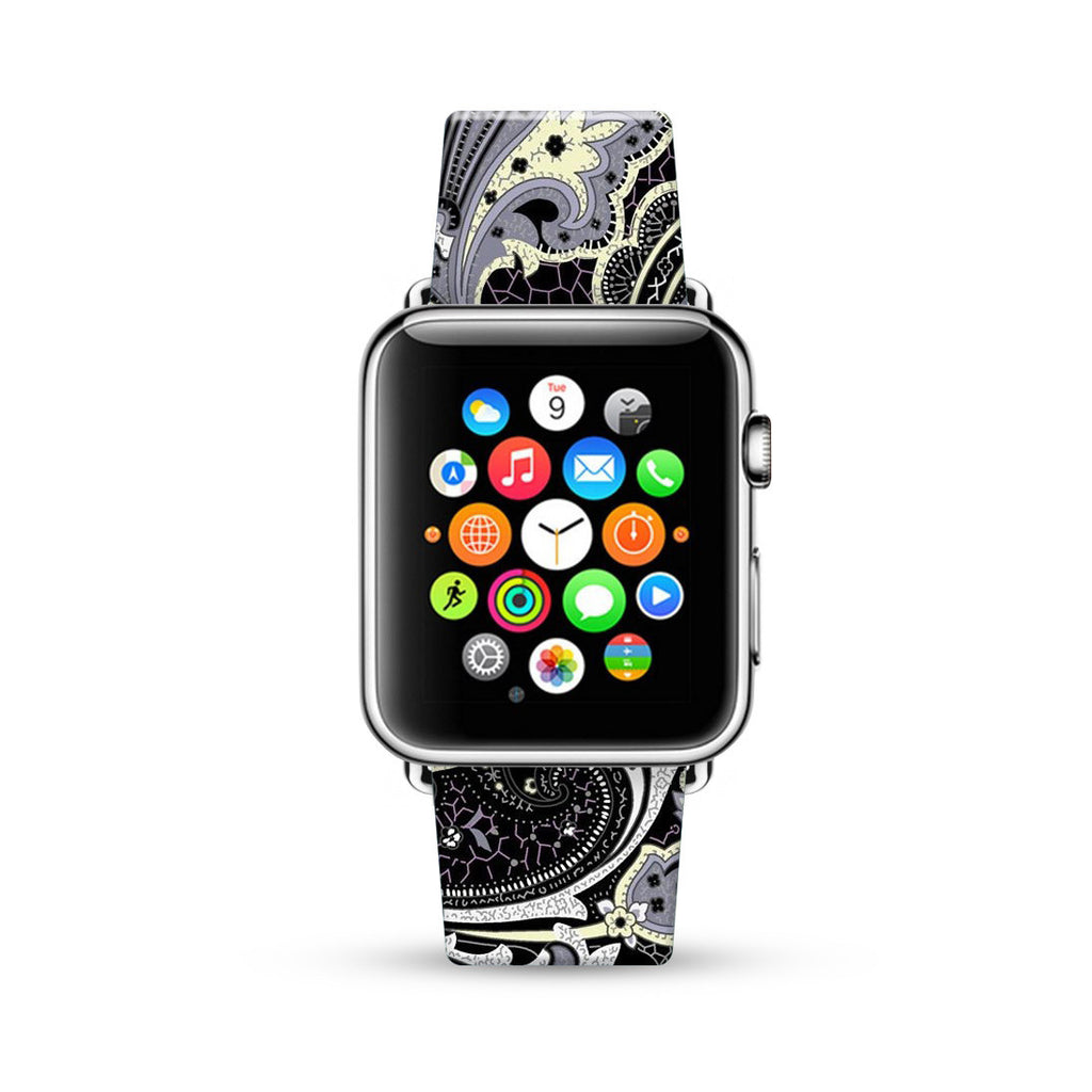 Black Floral pattern 65 Watch Band Strap for Apple Watch -  38mm / 40mm  , 42mm / 44mm