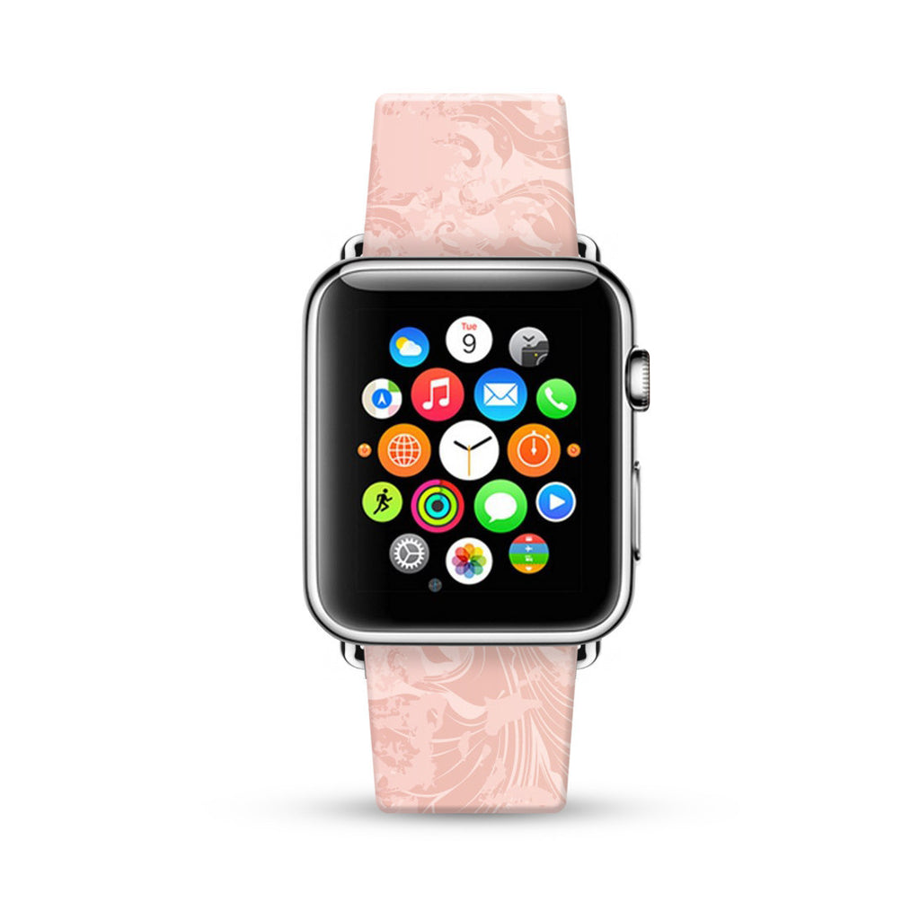 Pink Fancy Flowers pattern Watch Band Strap for Apple Watch -  38mm / 40mm  , 42mm / 44mm