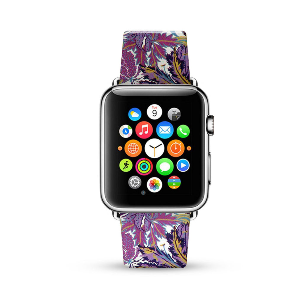 Purple Lilac Floral Pattern Watch Band Strap for Apple Watch - 38 mm / 42 mm