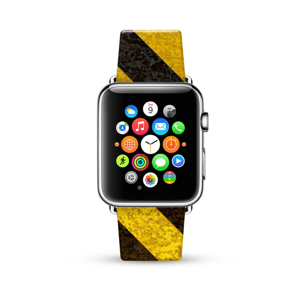 Yellow Hazard Stripes Watch Band Strap for Apple Watch - 38 mm / 42 mm