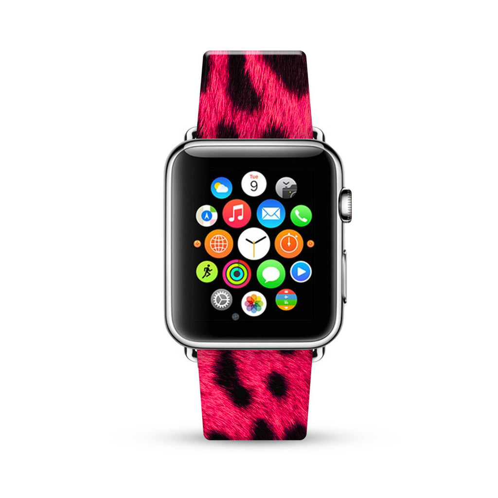 Hot Pink Leopard Pattern Watch Band Strap for Apple Watch - 38 mm / 42 mm