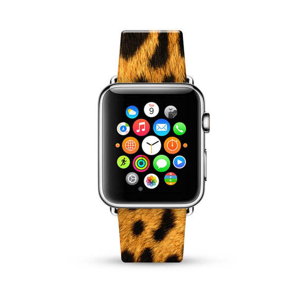 Golden Brown Leopard Pattern Watch Band Strap for Apple Watch -  38mm / 40mm  , 42mm / 44mm