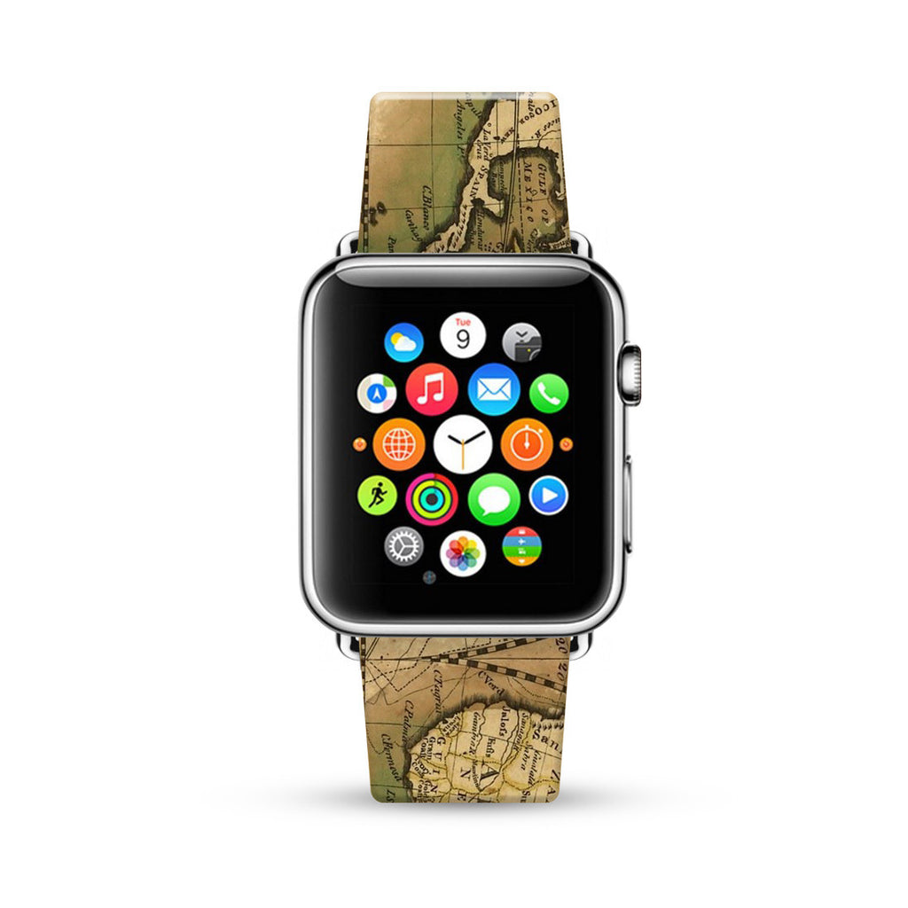 Vintage Map Pattern Color Watch Band Strap for Apple Watch - 38 mm / 42 mm