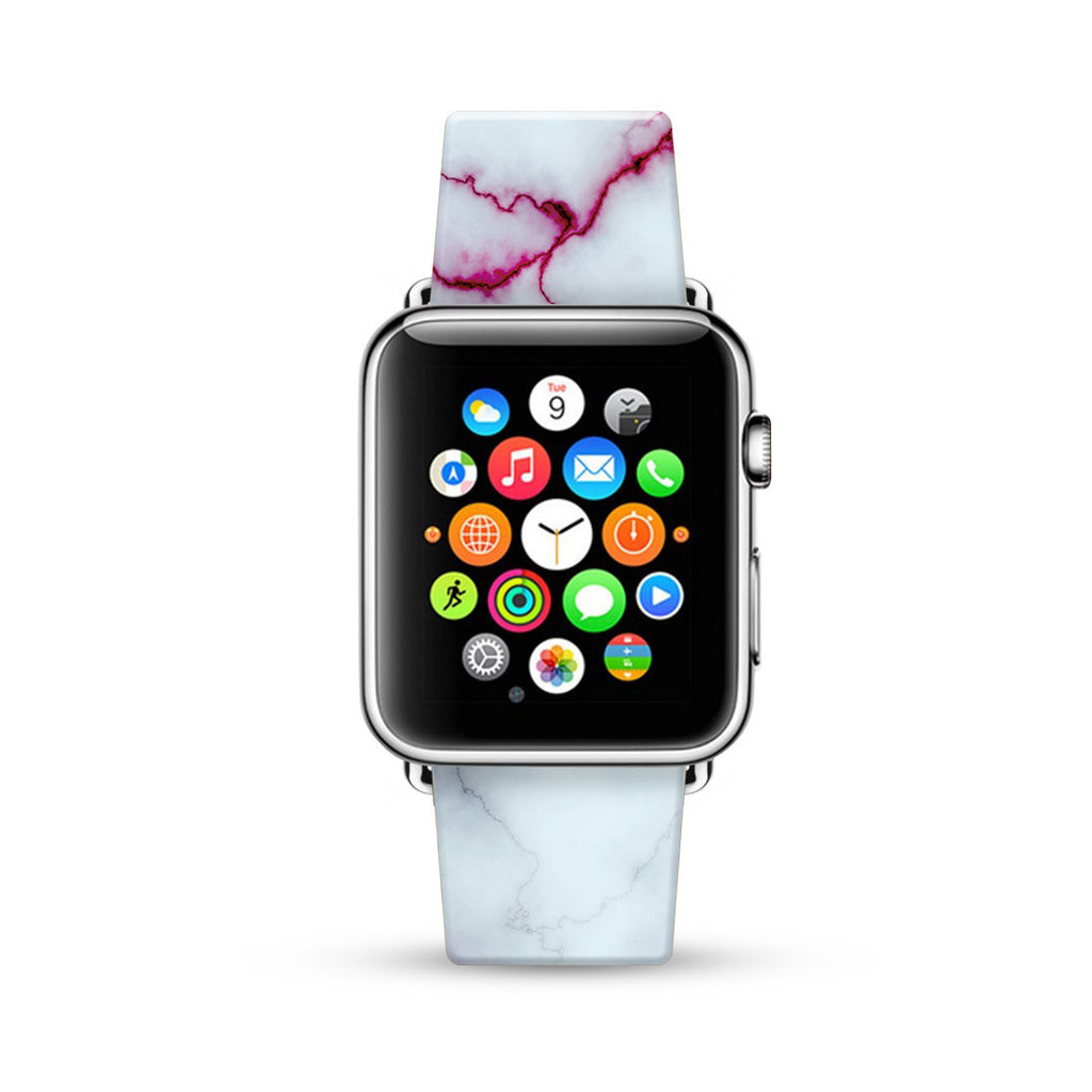 Faux White with Red Marble Printed Watch Band Strap for Apple Watch - 38 mm / 42 mm
