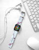 Faux White with Red Marble Printed Watch Band Strap for Apple Watch -  38mm / 40mm  , 42mm / 44mm