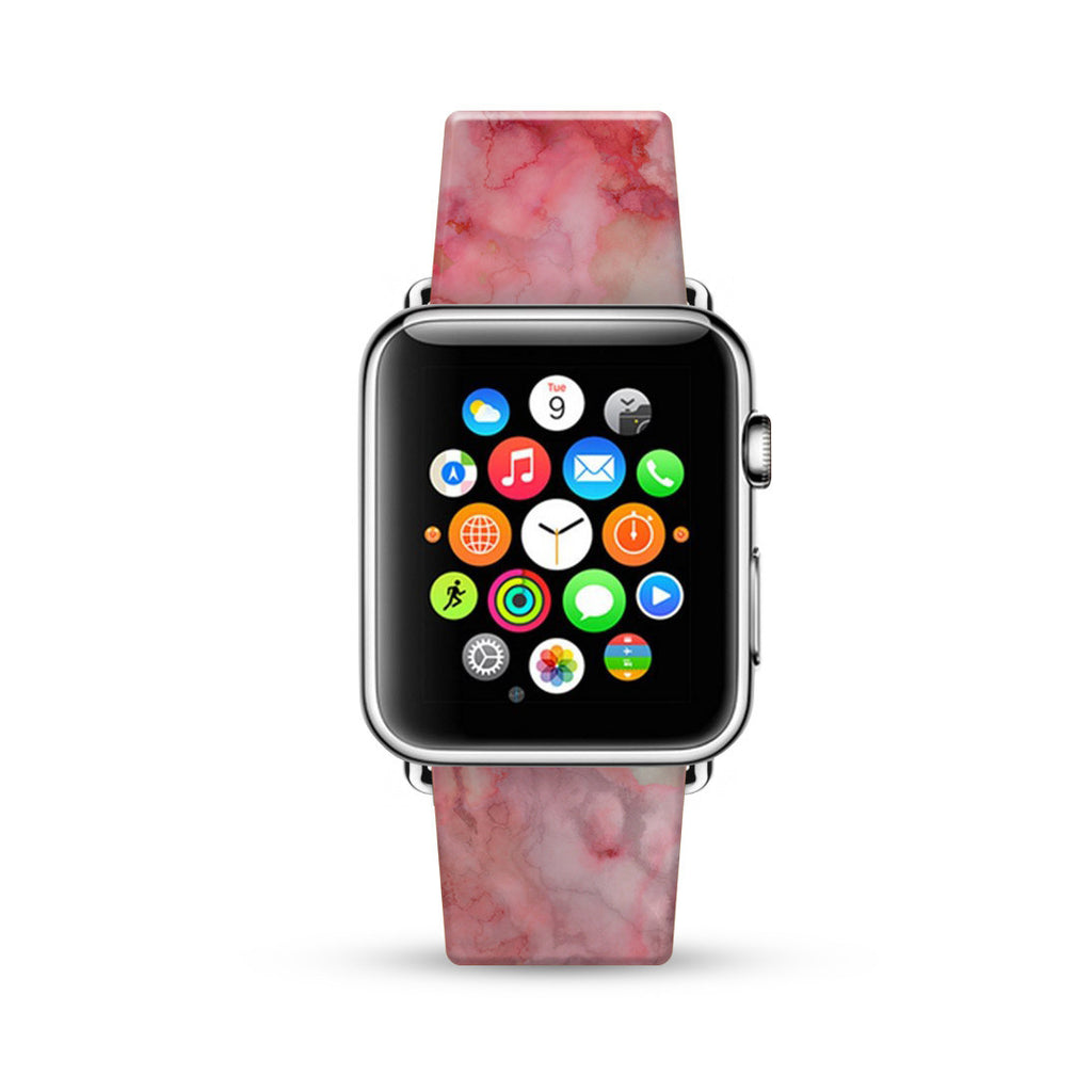 Faux Pink Marble Printed Watch Band Strap for Apple Watch -  38mm / 40mm  , 42mm / 44mm