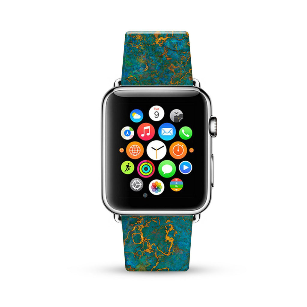 Faux Green with Yellow Marble Printed Watch Band Strap for Apple Watch - 38 mm / 42 mm