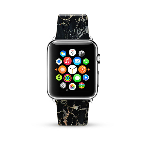 Faux Black Marble Printed Watch Band Strap for Apple Watch -  38mm / 40mm  , 42mm / 44mm