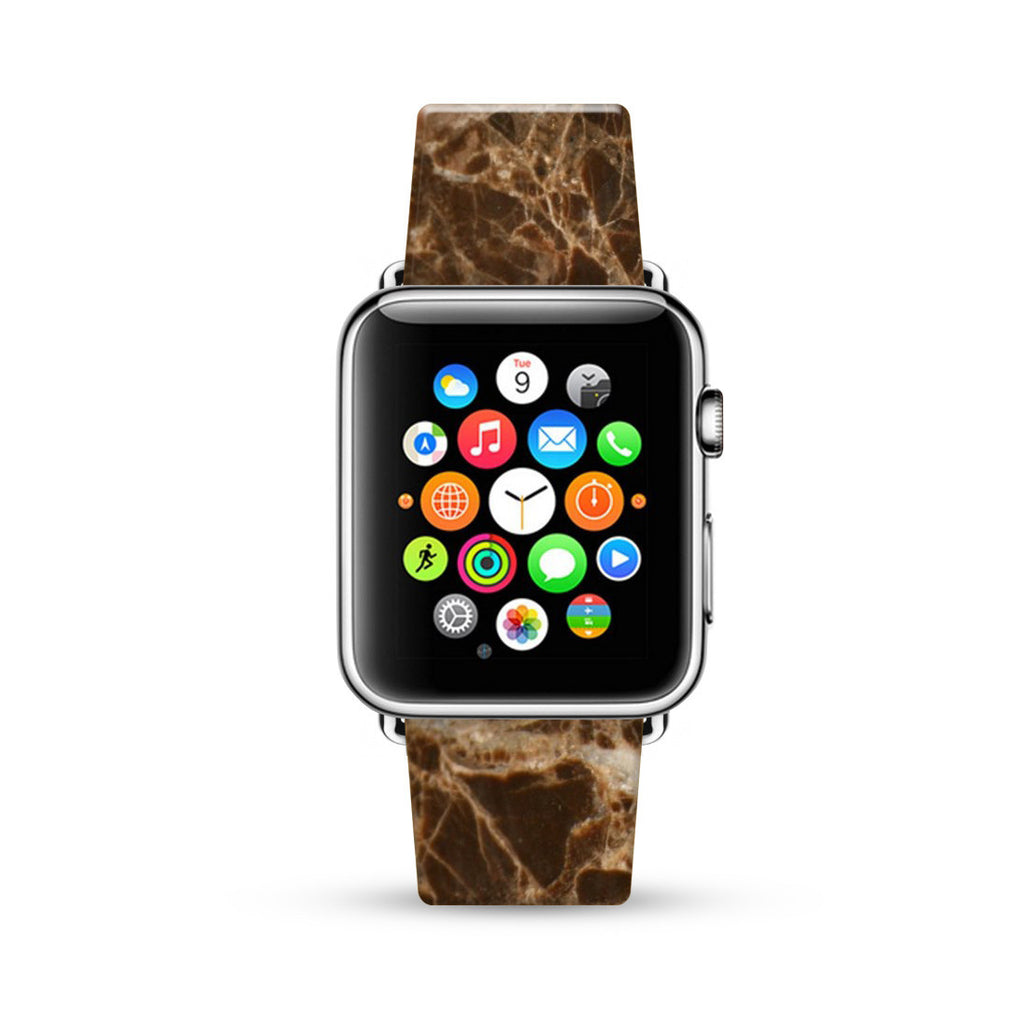 Faux Brown Marble Printed Watch Band Strap for Apple Watch - 38 mm / 42 mm