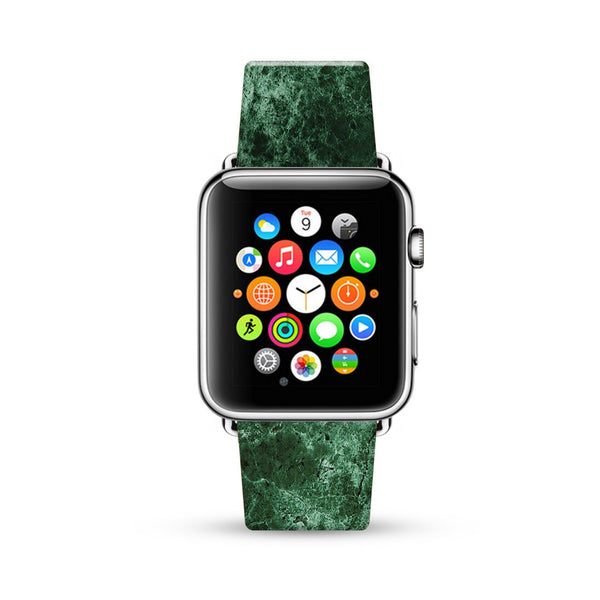 Faux Green Marble Printed Watch Band Strap for Apple Watch -  38mm / 40mm  , 42mm / 44mm