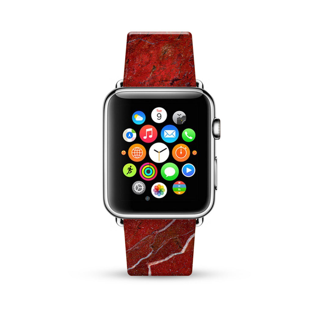Faux Red Marble Printed Watch Band Strap for Apple Watch -  38mm / 40mm  , 42mm / 44mm