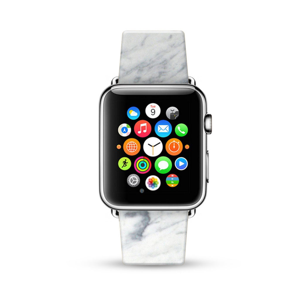 Faux White Marble Printed Watch Band Strap for Apple Watch - 38 mm / 42 mm